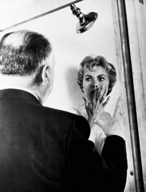 classichollywoodforever:  Hitchcock on set with Leigh for Psycho