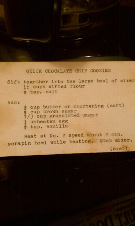 Trying a recipe from a recipe box found at an estate sale.