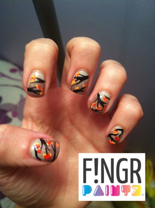 Fall leaves!  I was inspired by the ever so popular Cherry Blossom Nails, so I decided to do a fall twist on them :) xxo Laur