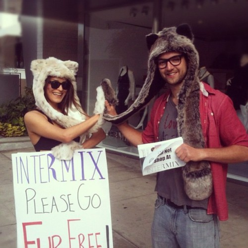 Team Spirithood High Five at our INTERMIX Fur protest.
