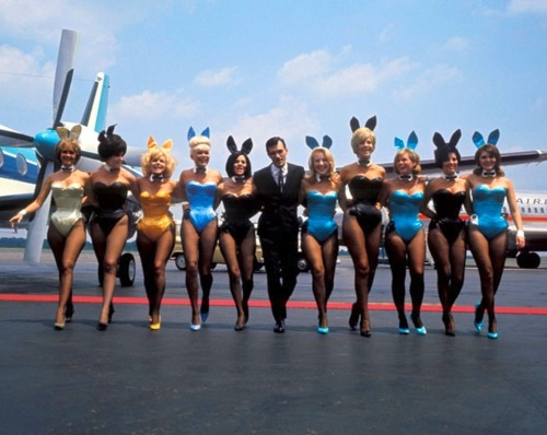 jolieramone:  Hef and his Bunnies From the 1960s i think.