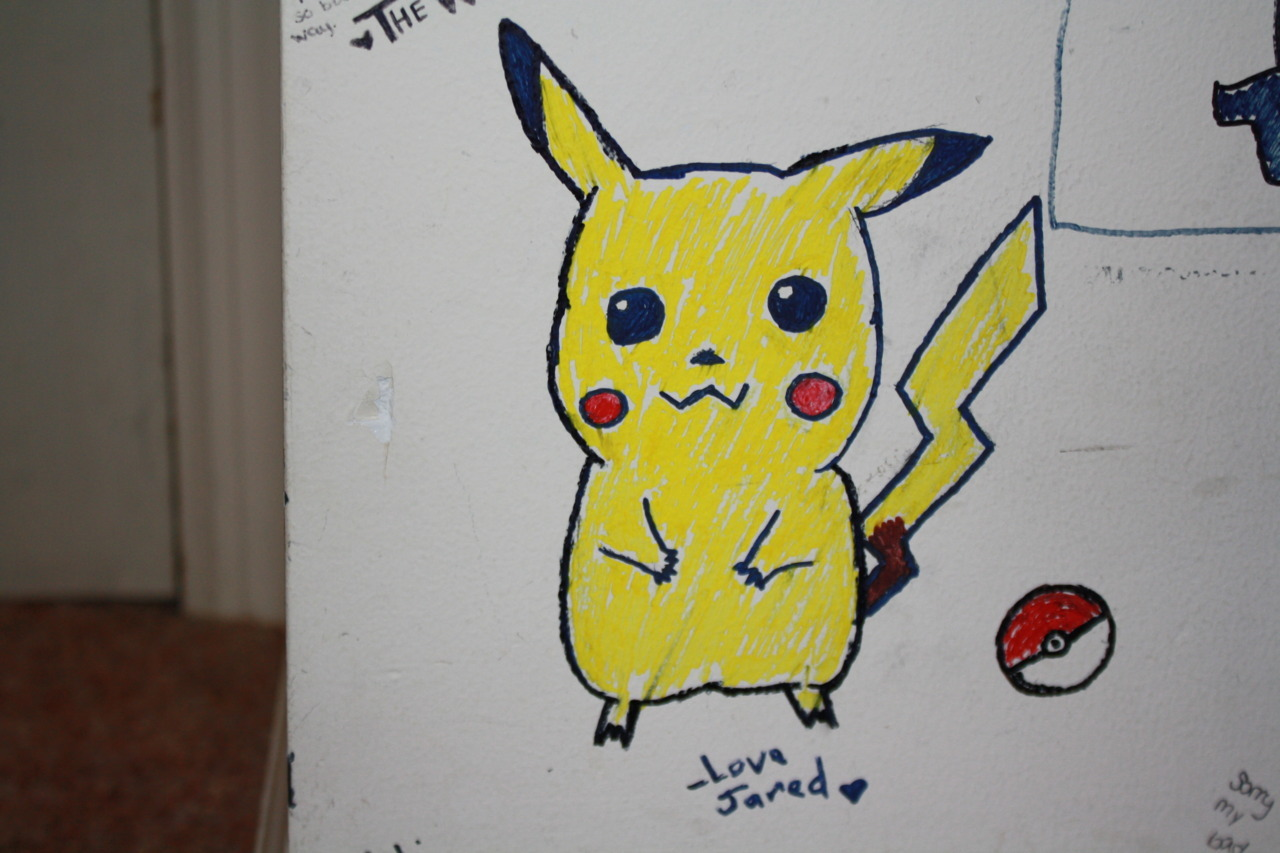 breathingsecrets:  Jared drew Pikachu on my wallllll. :D  I'm totally an amazing artist