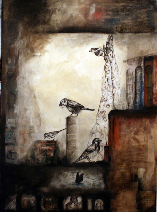 House Sparrow, 2011 Collage, Charcoal, Watercolor, Tea, Image Transfers Claudia WIlburn