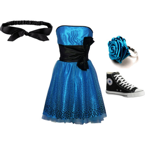 rose jewelry hair bow accessories high top shoes strapless cocktail dresses fashion style Converse H&M polyvore