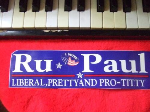 "image: Ron Paul bumper stickers cut and pasted into ""Ru Paul: Liberal, Pretty, and Pro-Titty"" bumper sticker"