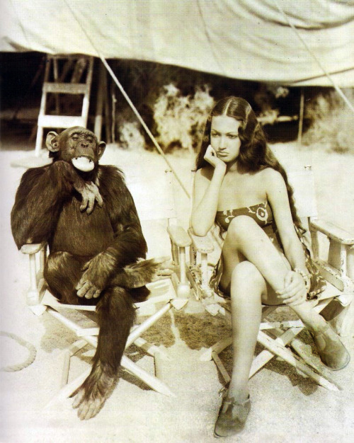 vintagegal:  Dorothy Lamour with 'Jiggs' during the filming of 'Her  Jungle Love', 1937