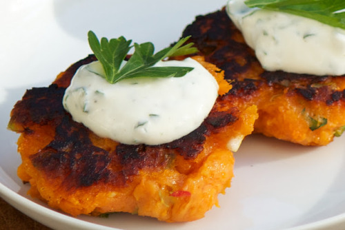prettybalanced:  Sweet Potato Pancakes with Herb Yogurt Sauce