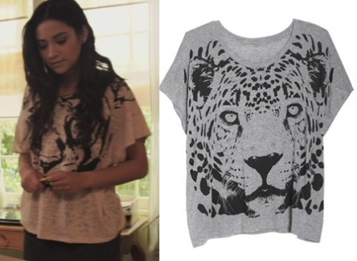 Luckily, Emily's Tiger face print tee is very in at the moment, there are several different options online you can find of the same top. Different styles, colours and materials too. Here's one thats extremely similar, and great on price!  Under $20 Top:  DeLia's Tiger Face Top - $19.50