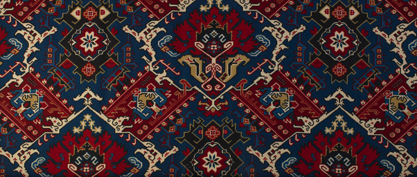 "Tissus Tartares' carpet inspired print, ""Lermontov,"" named for the 19th-century novelist and poet."