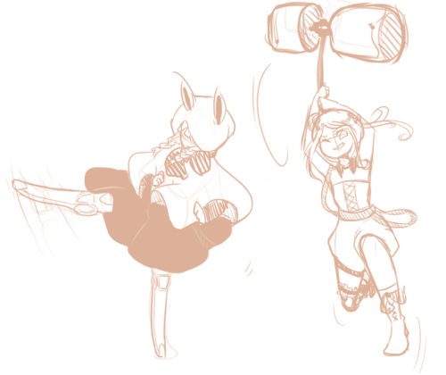 honeyscribbles:  Trying to draw actiony poses OTL