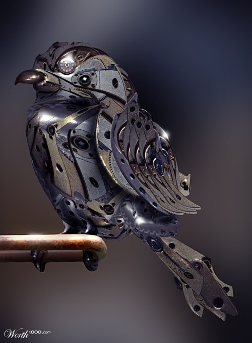 doctormonocle:  Clockwork Sparrow  Believe it or not, I've actually designed some of these for fun when I was in high school. It went from a small songbird on up to a great-horned owl. I wanted to see how, logistically, it could be done. Oh, and they were alarm clocks, too. :D