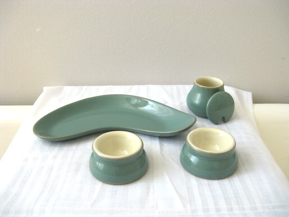 Denby Dinnerware Manor Green Kidney Dish Butter Pats by pillowsophi