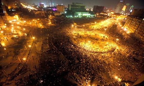 Tahrir Square on Sunday night as riot police and troops failed to  disperse crowds demanding Egypt's ruling generals hand over power.  Photograph: Mohamed El-Ghany/Reuters