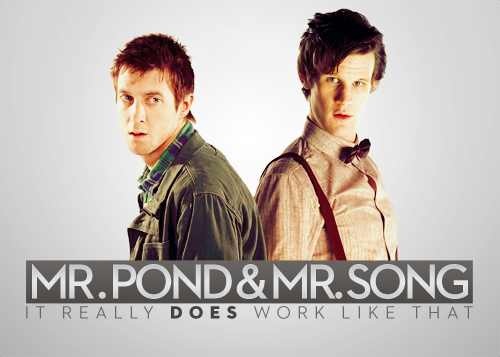 doctorwho:    Mr. Pond & Mr. Song for Charina PS. Click for fullsize! :)