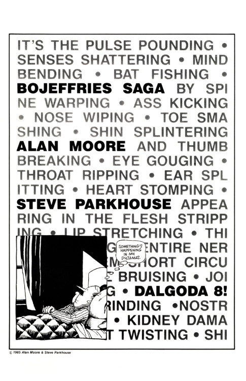 Promotional ad for 'The Bojeffries Saga' in Dalgoda by Alan Moore and Steve Parkhouse, 1985.