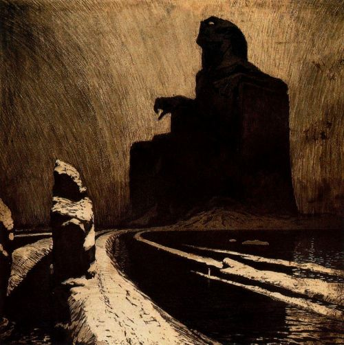 Frantisek Kupka, Defiance (Black Idol) 1903. Color aquatint with gouache on paper, 34.7 x 34.7 cm. Centre Georges Pompidou, Paris.