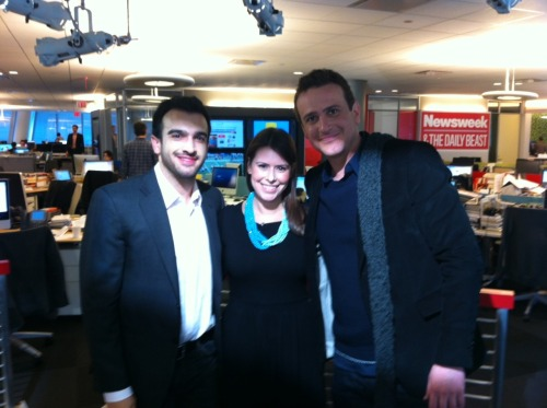 Fresh off his SNL-debut, Jason Segel stopped by the NewsBeast this morning to chat with Ramin Setoodeh & Danielle Friedman about, what else, the Muppets! We'll have video on the site later this week…but for now, here's visual evidence that it totally happened.