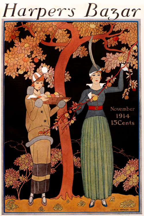 indigodreams: harpersbazaar: November 1914 Georges Barbier (French illustrator, 1882-1932) ~ Preparing for the feast …