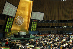 "UN Photo. A wide view of the General Assembly as it meets on a draft resolution introduced by Saudi Arabia regarding ""Terrorist attacks on internationally protected persons"". The resolution, which condemns a botched plot to assassinate a Saudi Arabian ambassador and calls on Iran to comply with measures to bring those responsible for the plot to justice, was adopted by the Assembly with 106 votes in favour, 9 against, and 40 abstentions. Secretary of State Hillary Rodham Clinton said, ""This UN resolution demonstrates the increasing isolation of the Iranian regime as a result of its defiance of the international community and repeated failure to uphold its obligations under international law. Today, the United Nations made clear it is losing patience with empty promises, dangerous actions and veiled threats."" Click the photo to read Secretary Clinton's full statement."