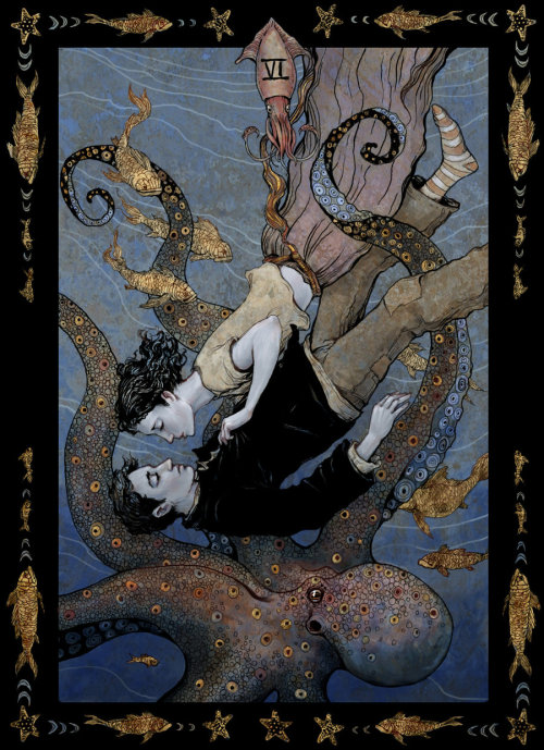 "A squid and octopus guest star on ""Tarot, The Lovers"" by bluefooted via fer1972"