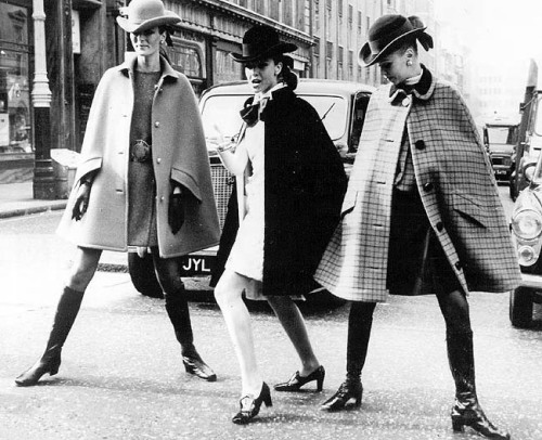 Models wearing capes by Christian Dior, 1967.