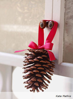 Dangle pinecones from every cabinet door: Form a 12-inch-long ribbon into a loop, and hot-glue to the pinecone's base. Tie another 12-inch-long ribbon into a bow, and hot-glue over the ends of the first ribbon.