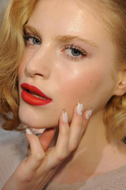 This Lucite Nail Design is so easy to do and the look is super sophisticated! I will be posting a how to video soon, but in the meantime, you can do this on your natural nails or by applying false nails! Now, What to do…just pick up some clear nail tips at any beauty supply store or online beauty supply, use nail glue to make them semi permanent and last a couple weeks or simply pick up some glue dots from any craft store to adhere to your nails for the night (like you do with false eyelashes) Next, take any piece of fabric that will reflect the look you want to get like lace or fishnet etc, and stipple any color nail polish or acrylic paint over the fabric like a stencil on the nail and then protect with topcoat, add some glitter or rhinestones for Bling!!!! Great for Holidays… How to Video coming soon :)