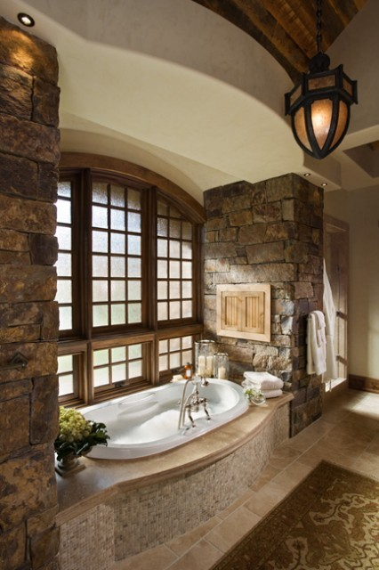 Beautiful rustic bathroom with stone and wood accents (via Bathroom - traditional - bathroom - other metros - by Locati Architects)