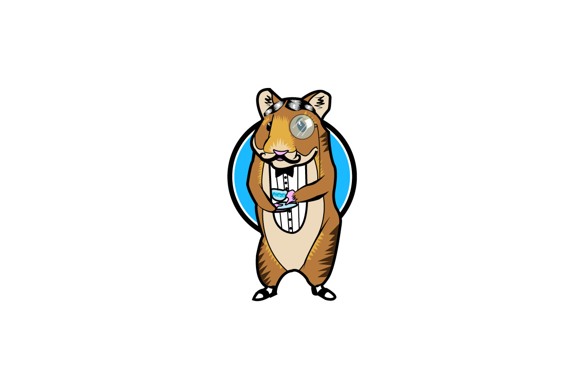 Fancy Hamster Logo. This was one of the more fun logos I've designed. The client knew EXACTLY what she wanted down to the slicked down hair, the monocle, the saddle shoes, and pinky being out on hand with the teacup. This is still HILARIOUS to me!