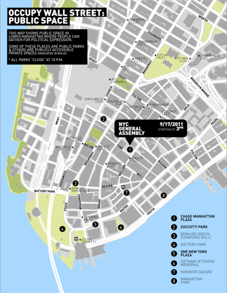 Map: How Occupy Wall Street Chose Zuccotti Park This week in the magazine, Mattathias Schwartz writes about the origins of Occupy Wall Street,  including an explanation of how New York's general assembly decided on  Zuccotti Park as the site of original encampment. After discussing  possible sites at the G.A.'s weekly Tompkins Square Park meetings, the  decision was ultimately left to a small group known as the Tactical  Committee, who narrowed the choice down to eight candidates. During the  week leading up to the protest, the Tactical Committee scouted the  remaining sites. On the afternoon of September 17th, three of the  committee's members decided on Zuccotti Park, which they then called  Location Two. Above, a copy of the map that the Tactical Committee distributed at  Bowling Green. Click through to see the notes of one member of Tactical Committee on the locations' advantages and  disadvantages: http://nyr.kr/tAM8Z6