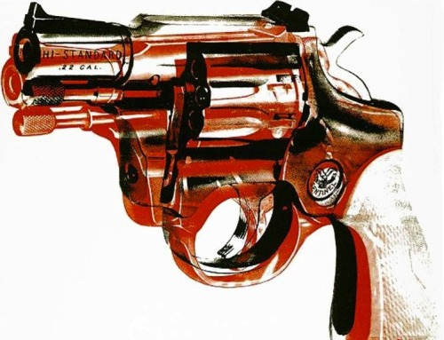 Andy Warhol, Gun, 1968 Part of a series on guns, after being almost fatally shot by Valerie Solanas in 1968. This depicts Solanas' revolver. What's interesting about this piece is that through the use of color blocking and color theory, the gun appears to be lethal and dangerous, even though no one is holding it.