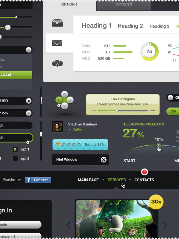 Futurico Web Elements Psd Here's another gui elements pack for you. It's pretty clean, playful, and has a little bit of modern class. Enjoy. Oh, and did I forget to mention you pay for this with a tweet? Pretty sweet.