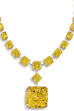 Graff owns some of the world's most famous diamonds including this Tsarina diamond, a 90.14-carat fancy intense yellow cushion cut pendant set into a necklace of fancy vivid yellow radiant-cut diamonds.  Graff, 710 Madison Avenue, New York.