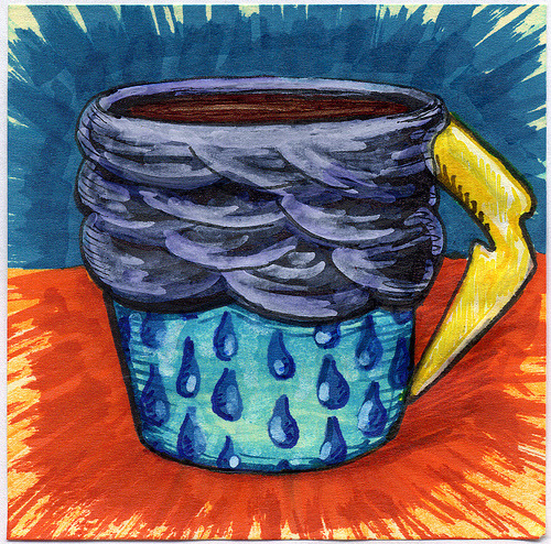 "bortwein:  I drew you a stormy mug of coffee To help you warm up those rainy and stormy days. Hope you like it. This is part of my ""The Daily Coffee"" marker drawing series."
