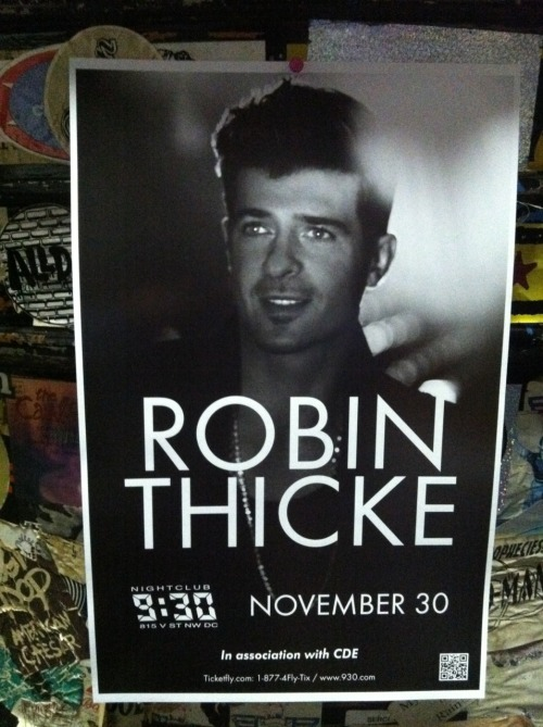 Freshly printed Robin Thicke posters…that's a lot of handsome.