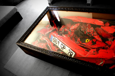 laughingsquid:  The Crashed Ferrari Coffee Table