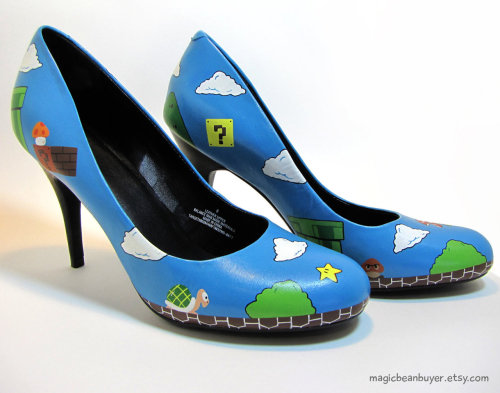 geekrest:   Custom Hand-Painted Super Mario Heels - by MagicBeanBuyer Shoes are a size US8 with a 3 1/2 inch heel. via GeekRest