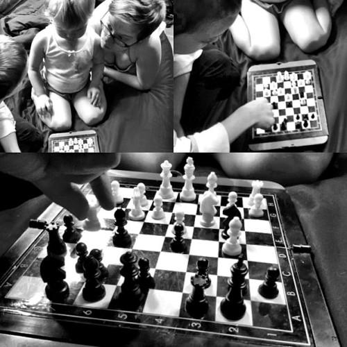 Here my #7yo DS is #teaching #chess to his #3yo #sister. Well, it's one way for the two of them to *connect* that doesn't involve screaming, hitting, or biting. #Prixmobile #iPhoneography #diptic with #noborders for #PMC711 and #mouselinkprixmobile. Also see #mouselinkdiptics and #hashtagoverachiever. (And yes, I know they set up the grid sideways ;) (Taken with instagram)