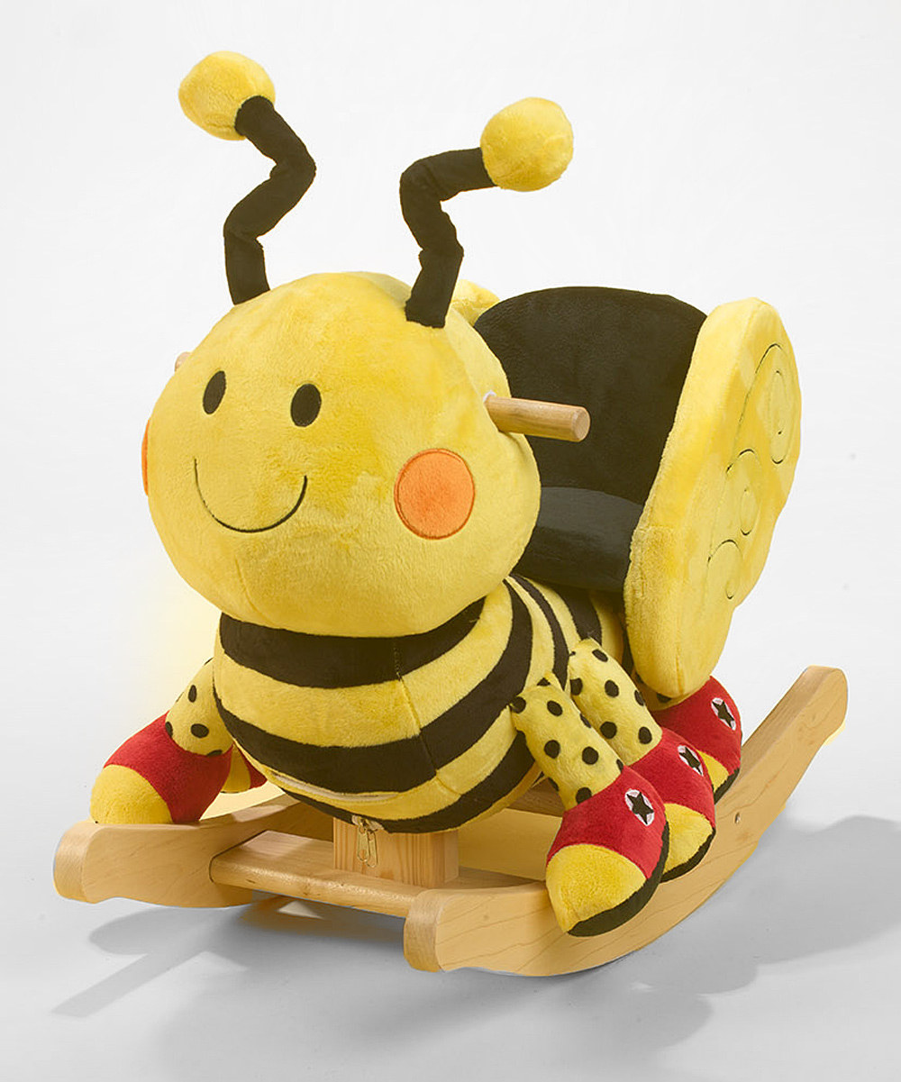 On zulily now: Rockabye's snail, elephant and the bee rocker you see feature crinkles and songs for the ride of a lifetime.