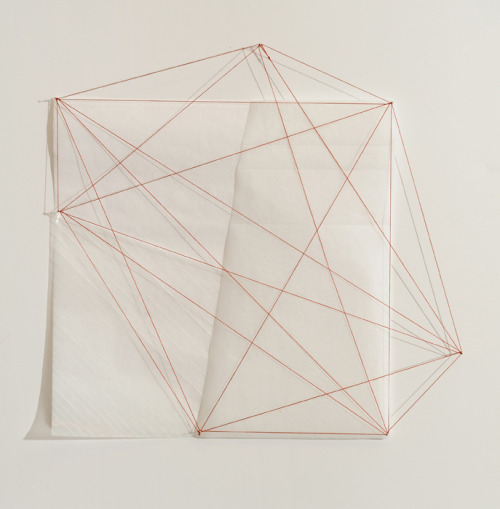 julianminima: Debra Ramsay, In Half Twice with Orange, various papers, thread, pins, 2011