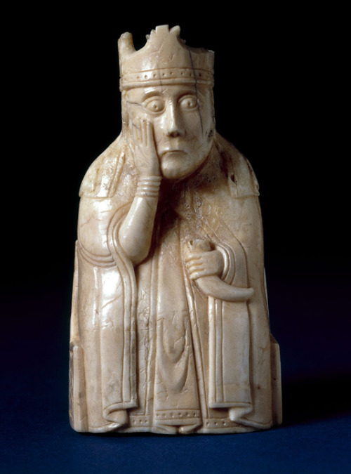 mediumaevum:    gnostix1 submitted: Medieval Ivory Chessmen from the Isle of Lewis November 15, 2011–April 22, 2012 !!! In 1831, a hoard of luxury goods—including more than seventy chess pieces and several other objects, all made of carved walrus ivory and dating from the twelfth century—was unearthed on the Isle of Lewis off the west coast of Scotland. The chess pieces (thereafter known as the Lewis Chessmen), which come from at least four distinct, but incomplete sets, are arguably the most famous chess pieces in the world today, and are among the icons of the collections of the British Museum in London and the National Museum of Scotland in Edinburgh. For this exhibition, more than thirty chessmen from the collection of the British Museum are being shown at The Cloisters, the branch of The Metropolitan Museum of Art devoted to the art and architecture of medieval Europe. This represents the first time such a large ensemble of the chessmen has traveled outside the United Kingdom. After the showing in New York, they will return to London.  Read more