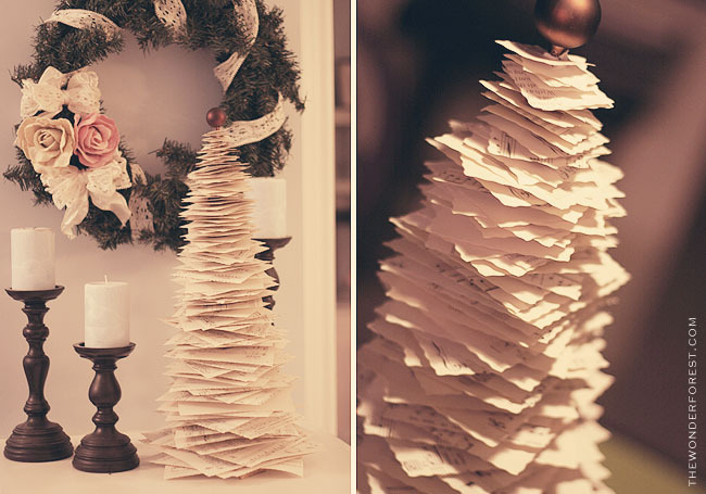 craftjunkie:  Anthro Inspired Music Sheet Tree {How to} Found at:thewonderforest