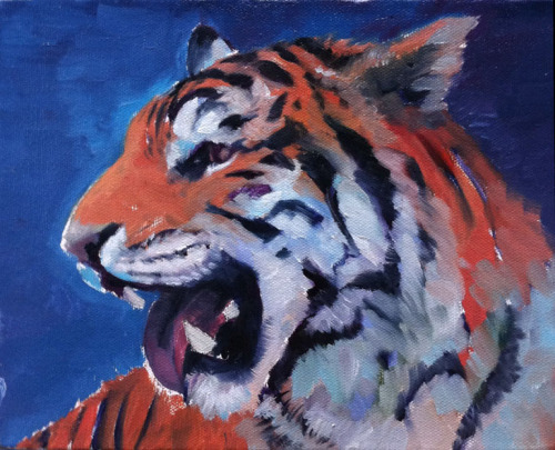 pallam9:  stonelions:   WIP oil on canvas from this afternoon. (He's missing a tooth because I ran out of white, shhhhh.)    Buck teeth tiger