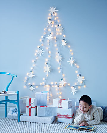 Here's a cool idea for apartment living: make a tree out of Christmas lights.