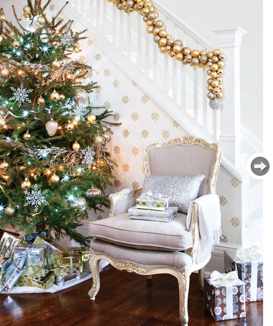 I love the wallpaper detailing… and the chair… and the tree… I love it all!
