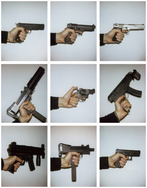(from top left) Sig Sauer, Beretta, Desert Eagle, Mach 11 suppressed, Colt .45 Snub Nose, Skorpion, MP5K, Mach 11, Walther PPK