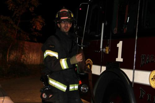 Yes This is me, this was after working a Chimney Fire and I was helping the Engine company roll the hose line. But when that tone Drops no matter were I am, My heart starts racing. I love that feeling, the Call could be an Full Recall on EMTs to respond to help someone sick or hurt, It could be a Full Recall on a House Fire, you never know. I feel if you were to ask anyone who is still doing this job and or has retired they might say the same thing, its an awesome feeling going to help another person no matter what time it is, or if its bad weather out, even if its a holiday Ik I am here to help People, Gloom and mayhem takes no days off, Neither do I!