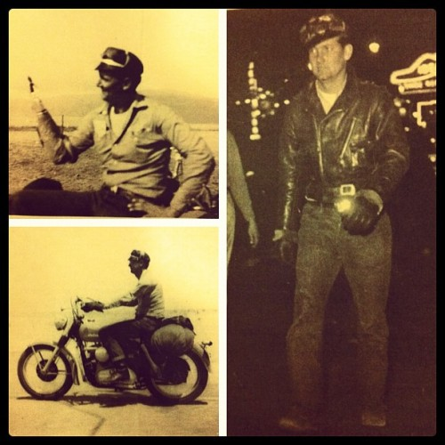 My papa was so #rad ! #Hook for a hand, #leather#jacket , #motorcycle#Harley #boots#swagger ….awesome #rockandroll#style gramps! Miss you :')  (Taken with instagram)