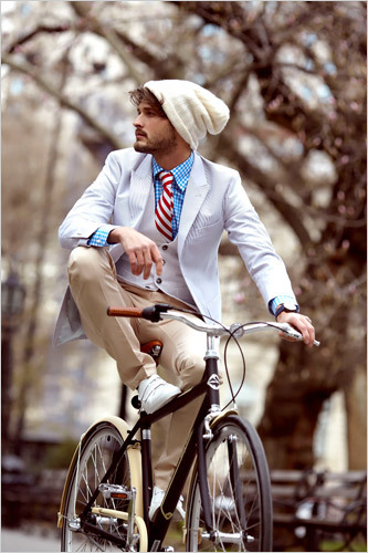 Yes, it's a fashion-bike shoot; the guy is most likely not riding that bike anywhere in those expensive clothes—but hot nonetheless. (nytimes, david roemer. 15.04.09)