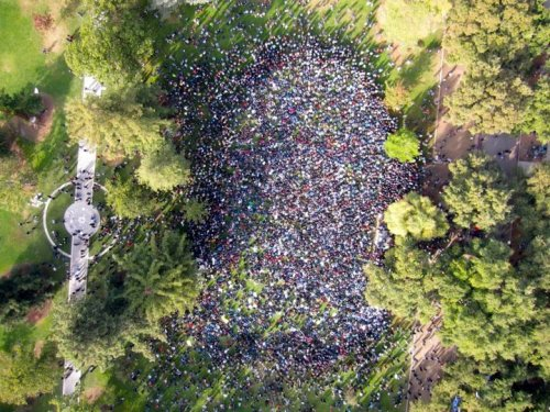 Aerial view of the crowd assembled today at UC Davis during the Rally at the Quad.